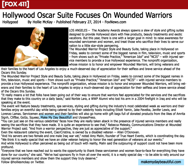 Hollywood Oscar suite focuses on wounded warriors