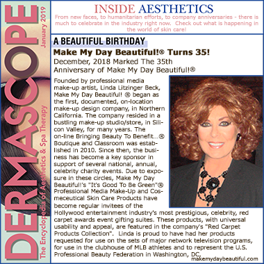 Make My Day Beautiful!®_turns_35_Dermascope_Magazine_Jan_2019 Linda Litzinger Beck