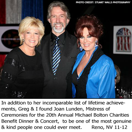 Greg and Linda Beck with Joan Lunden Michael Bolton Charities Reno Nov 2012